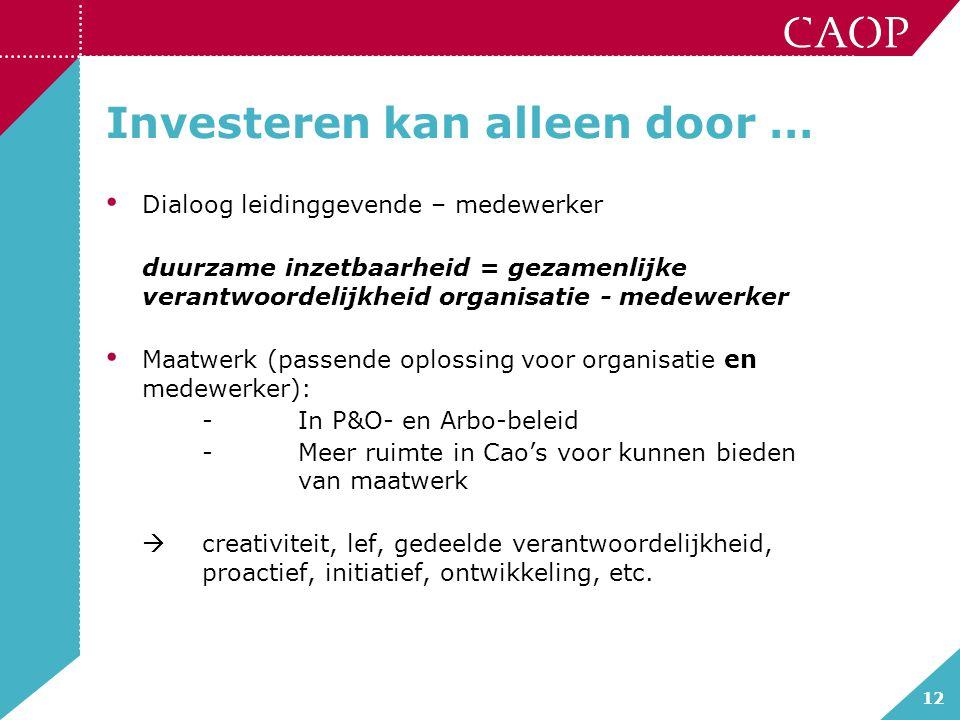12 Investeren kan alleen door … Dialoog leidinggevende – medewerker duurzame inzetbaarheid = gezamenlijke verantwoordelijkheid organisatie - medewerke