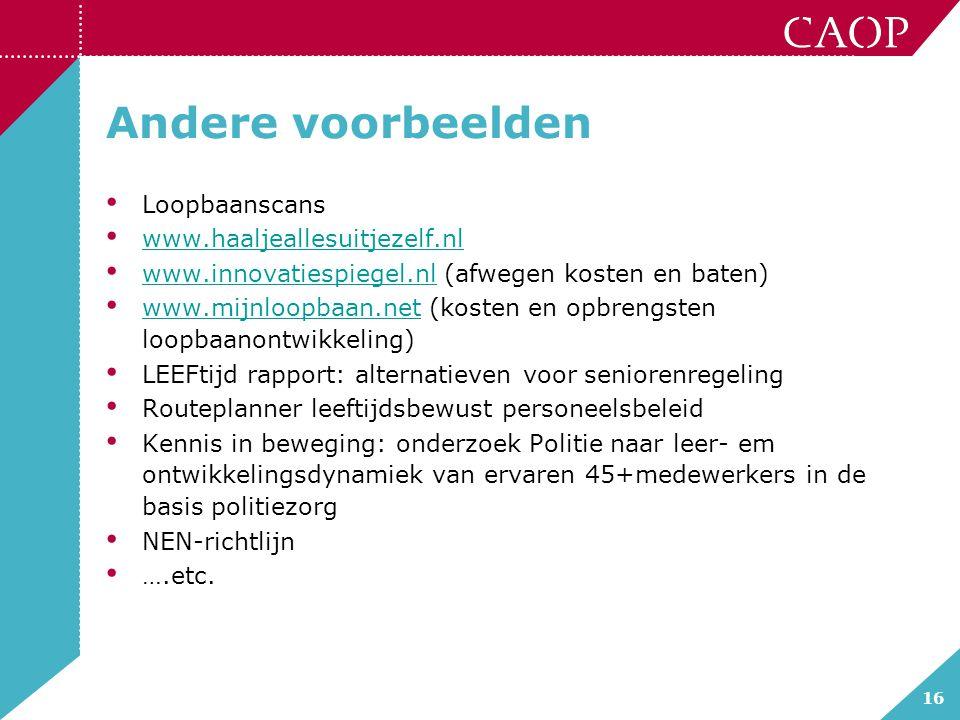 16 Andere voorbeelden Loopbaanscans www.haaljeallesuitjezelf.nl www.innovatiespiegel.nl (afwegen kosten en baten) www.innovatiespiegel.nl www.mijnloop