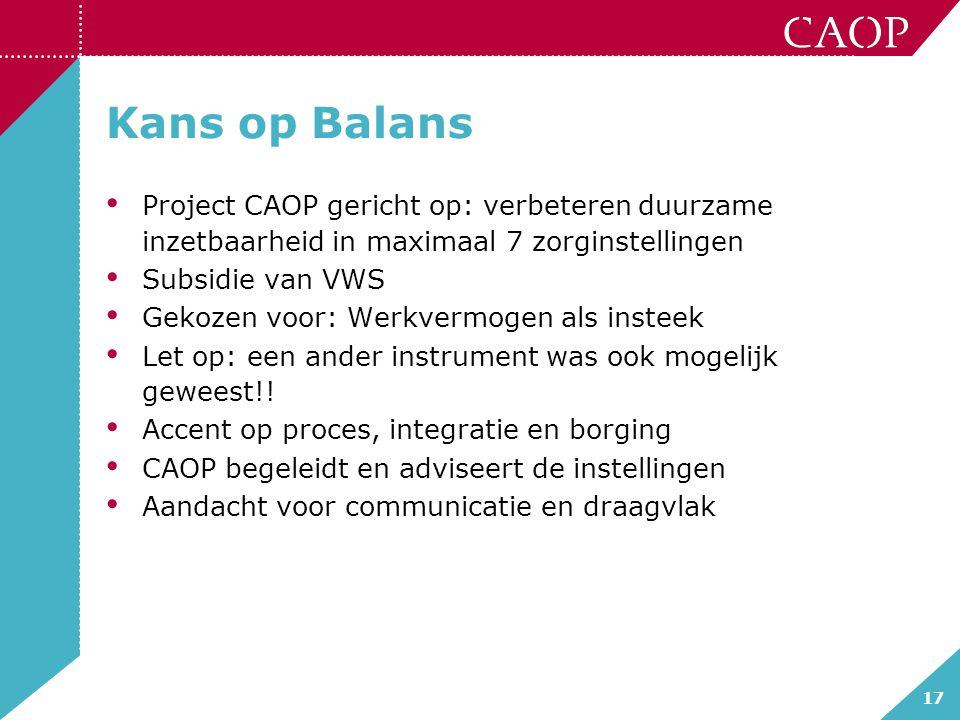 17 Kans op Balans Project CAOP gericht op: verbeteren duurzame inzetbaarheid in maximaal 7 zorginstellingen Subsidie van VWS Gekozen voor: Werkvermoge