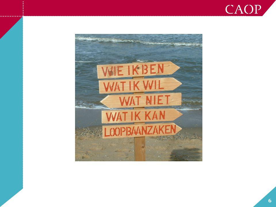 17 Kans op Balans Project CAOP gericht op: verbeteren duurzame inzetbaarheid in maximaal 7 zorginstellingen Subsidie van VWS Gekozen voor: Werkvermogen als insteek Let op: een ander instrument was ook mogelijk geweest!.