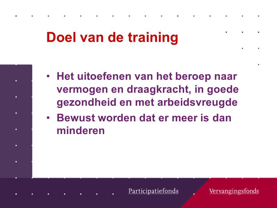Doel van de training Het uitoefenen van het beroep naar vermogen en draagkracht, in goede gezondheid en met arbeidsvreugde Bewust worden dat er meer is dan minderen