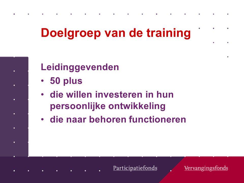 Doelgroep van de training Leidinggevenden 50 plus die willen investeren in hun persoonlijke ontwikkeling die naar behoren functioneren