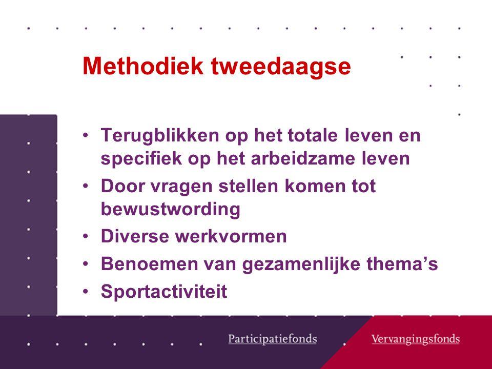 Methodiek tweedaagse Terugblikken op het totale leven en specifiek op het arbeidzame leven Door vragen stellen komen tot bewustwording Diverse werkvormen Benoemen van gezamenlijke thema's Sportactiviteit