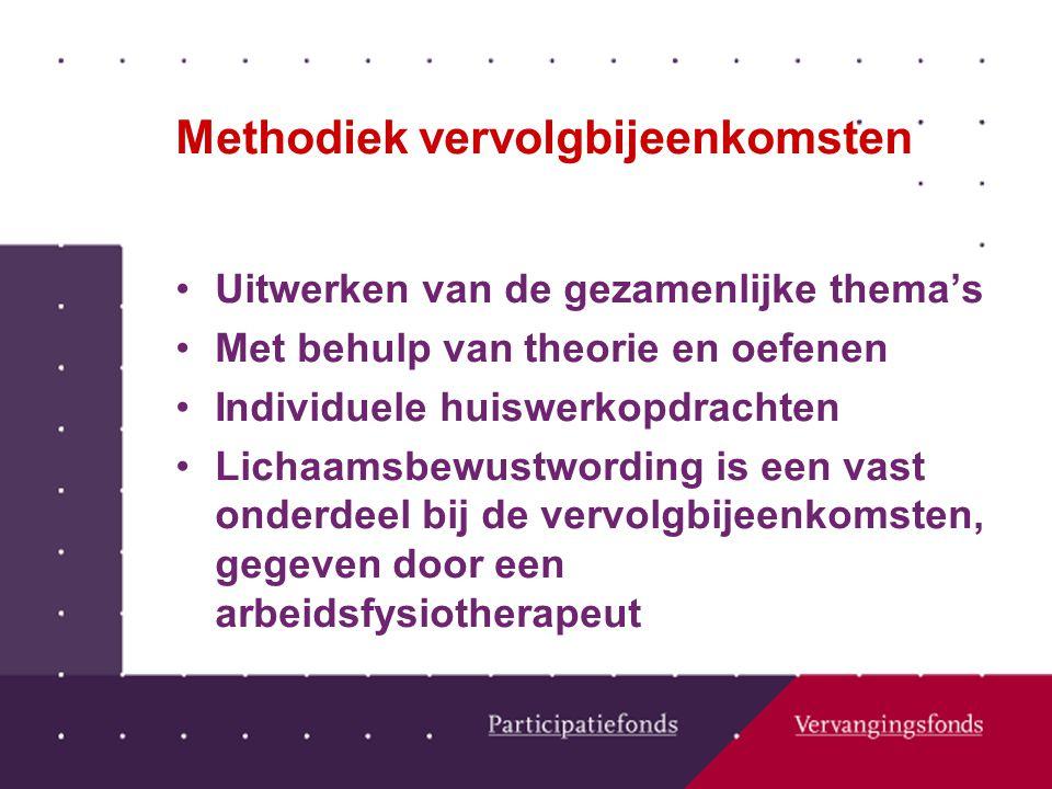 Methodiek vervolgbijeenkomsten Uitwerken van de gezamenlijke thema's Met behulp van theorie en oefenen Individuele huiswerkopdrachten Lichaamsbewustwording is een vast onderdeel bij de vervolgbijeenkomsten, gegeven door een arbeidsfysiotherapeut