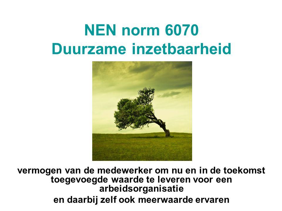 NEN norm 6070 Duurzame inzetbaarheid vermogen van de medewerker om nu en in de toekomst toegevoegde waarde te leveren voor een arbeidsorganisatie en d
