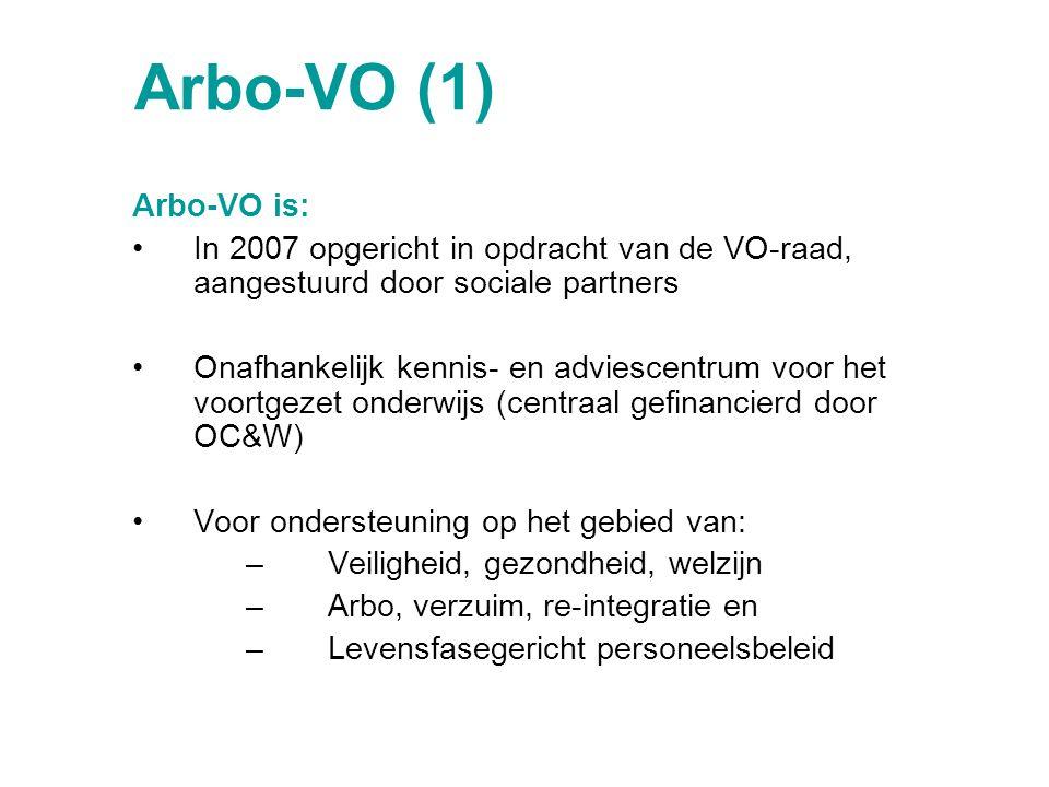 Arbo-VO (1) Arbo-VO is: In 2007 opgericht in opdracht van de VO-raad, aangestuurd door sociale partners Onafhankelijk kennis- en adviescentrum voor he