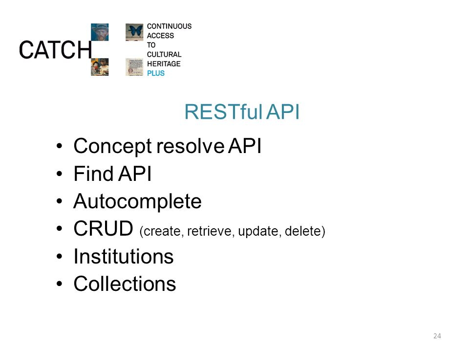 RESTful API Concept resolve API Find API Autocomplete CRUD (create, retrieve, update, delete) Institutions Collections 24