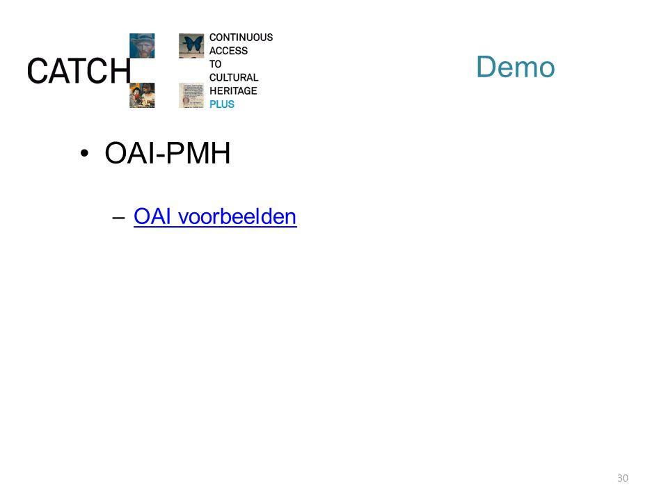 Demo OAI-PMH –OAI voorbeeldenOAI voorbeelden 30