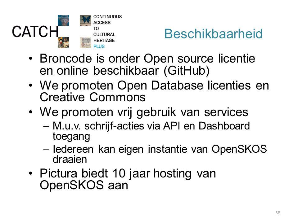 Beschikbaarheid Broncode is onder Open source licentie en online beschikbaar (GitHub) We promoten Open Database licenties en Creative Commons We promoten vrij gebruik van services –M.u.v.