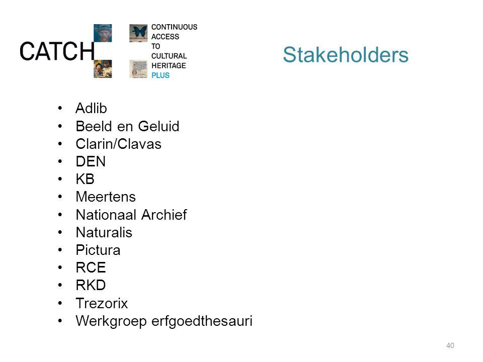 Stakeholders Adlib Beeld en Geluid Clarin/Clavas DEN KB Meertens Nationaal Archief Naturalis Pictura RCE RKD Trezorix Werkgroep erfgoedthesauri 40
