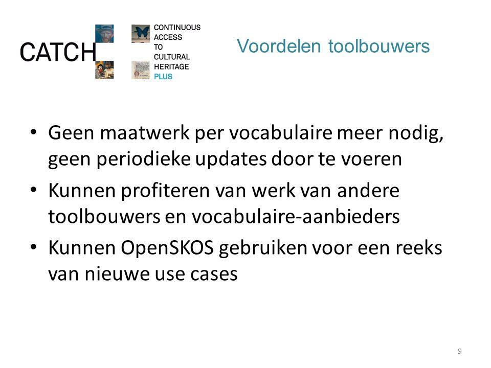 Voordelen toolbouwers Geen maatwerk per vocabulaire meer nodig, geen periodieke updates door te voeren Kunnen profiteren van werk van andere toolbouwers en vocabulaire-aanbieders Kunnen OpenSKOS gebruiken voor een reeks van nieuwe use cases 9