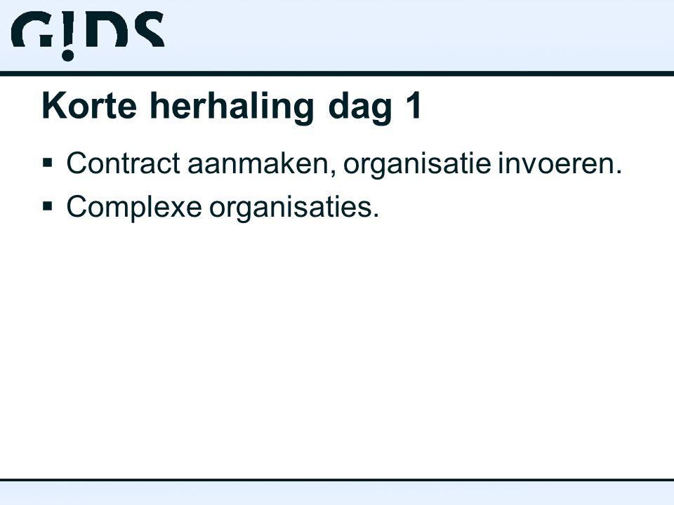 Korte herhaling dag 1  Contract aanmaken, organisatie invoeren.  Complexe organisaties.