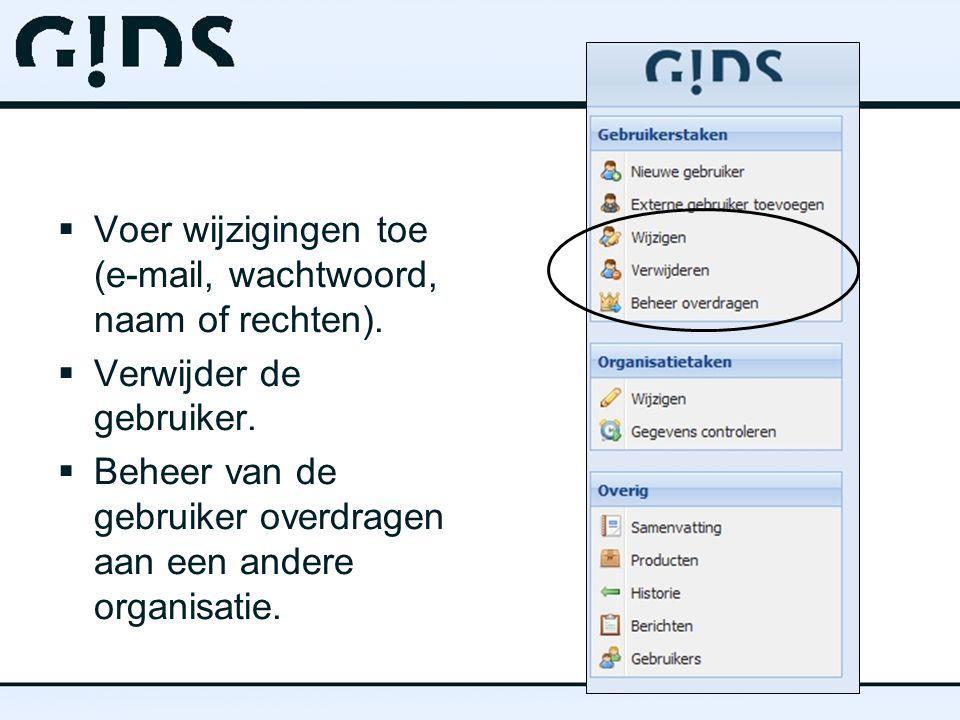  Voer wijzigingen toe (e-mail, wachtwoord, naam of rechten).