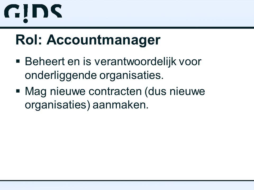 Rol: Accountmanager  Beheert en is verantwoordelijk voor onderliggende organisaties.