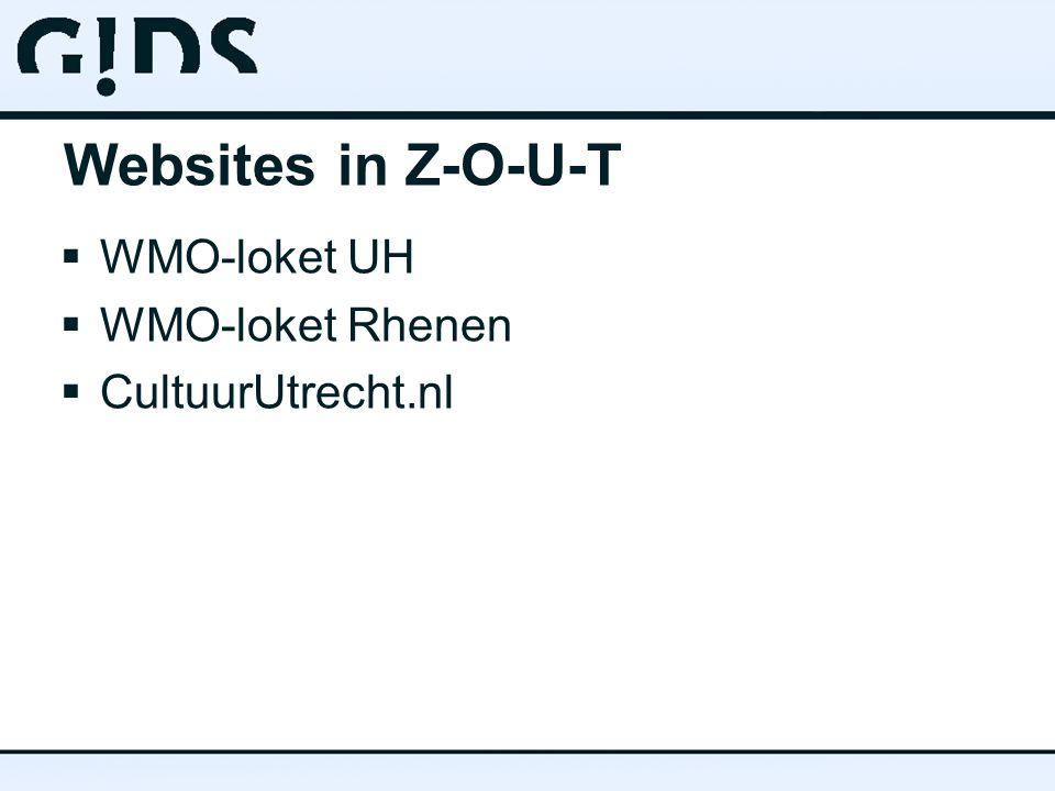 Websites in Z-O-U-T  WMO-loket UH  WMO-loket Rhenen  CultuurUtrecht.nl