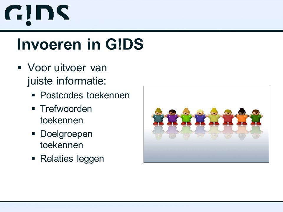 Invoeren in G!DS  Voor uitvoer van juiste informatie:  Postcodes toekennen  Trefwoorden toekennen  Doelgroepen toekennen  Relaties leggen
