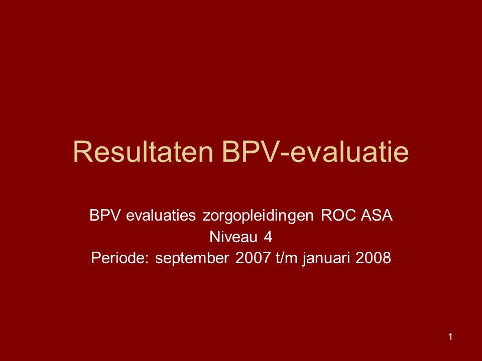 1 Resultaten BPV-evaluatie BPV evaluaties zorgopleidingen ROC ASA Niveau 4 Periode: september 2007 t/m januari 2008