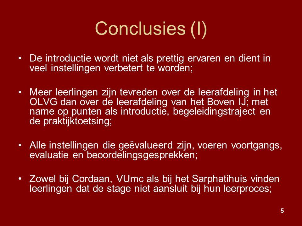 5 Conclusies (I) De introductie wordt niet als prettig ervaren en dient in veel instellingen verbetert te worden; Meer leerlingen zijn tevreden over d