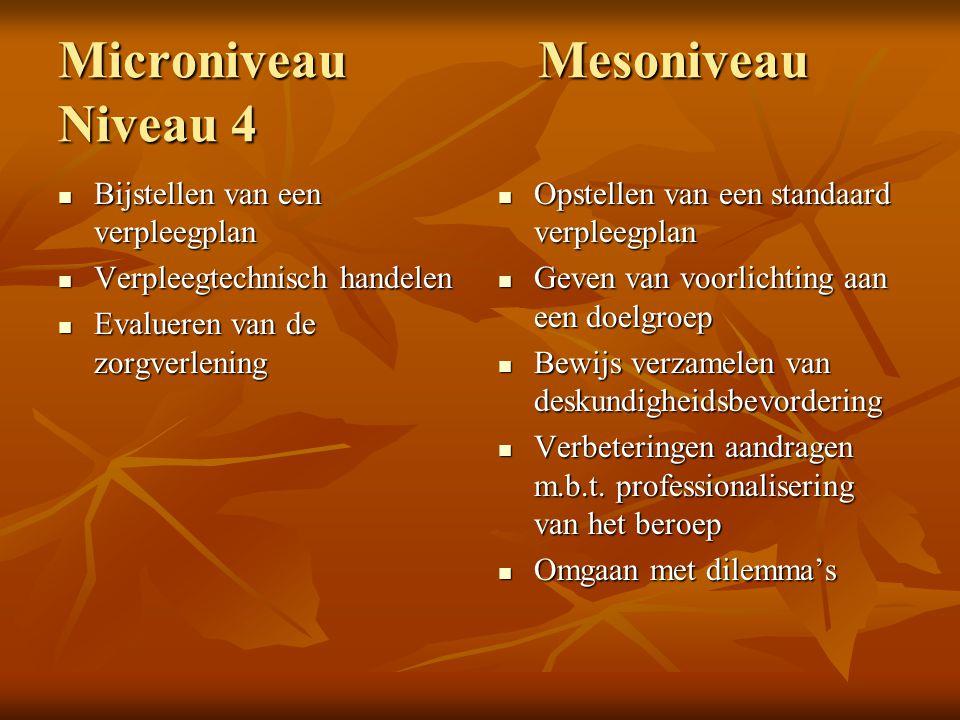 MicroniveauMesoniveau Niveau 4 Bijstellen van een verpleegplan Bijstellen van een verpleegplan Verpleegtechnisch handelen Verpleegtechnisch handelen E