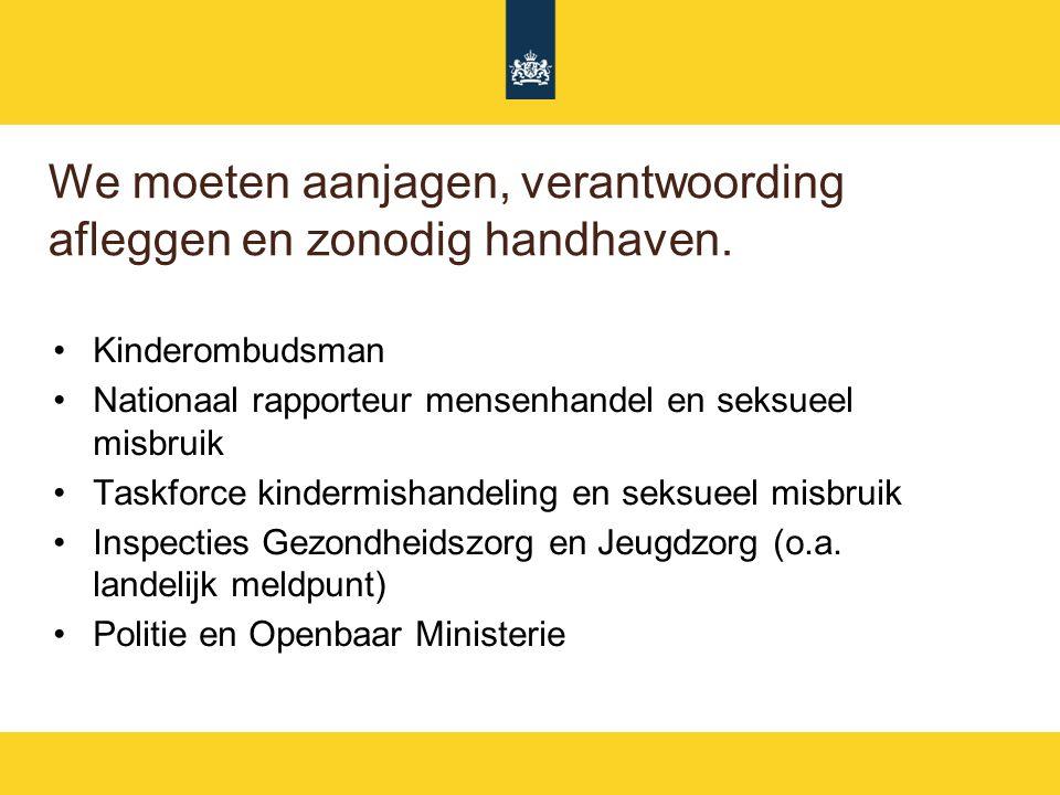 We moeten aanjagen, verantwoording afleggen en zonodig handhaven. Kinderombudsman Nationaal rapporteur mensenhandel en seksueel misbruik Taskforce kin