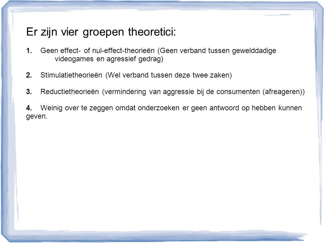 Er zijn vier groepen theoretici: 1.