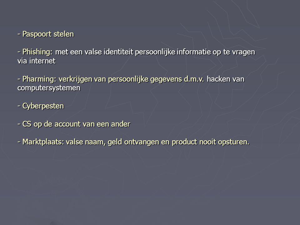 - Paspoort stelen - Phishing: met een valse identiteit persoonlijke informatie op te vragen via internet - Pharming: verkrijgen van persoonlijke gegev