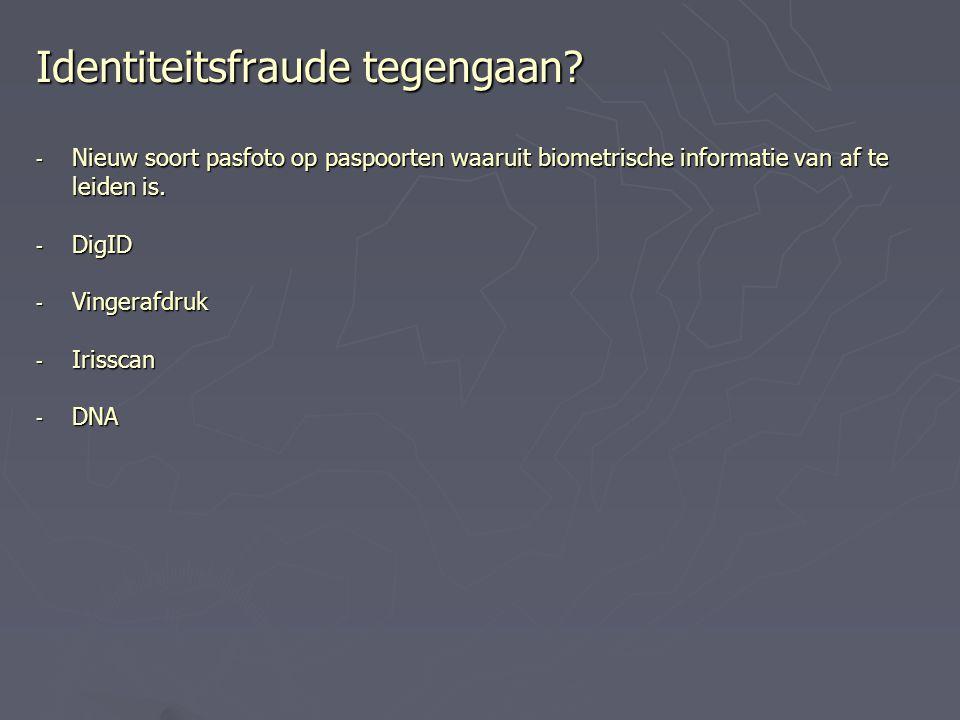 Identiteitsfraude tegengaan? - Nieuw soort pasfoto op paspoorten waaruit biometrische informatie van af te leiden is. - DigID - Vingerafdruk - Irissca