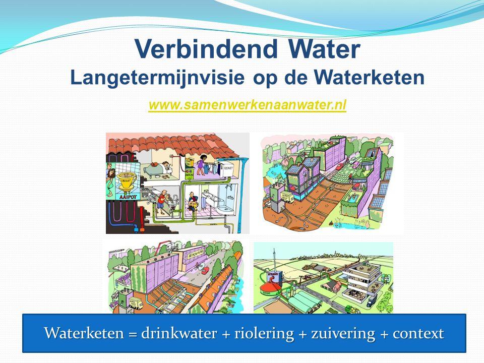 Verbindend Water Langetermijnvisie op de Waterketen www.samenwerkenaanwater.nl Waterketen = drinkwater + riolering + zuivering + context