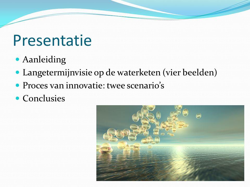 Presentatie Aanleiding Langetermijnvisie op de waterketen (vier beelden) Proces van innovatie: twee scenario's Conclusies