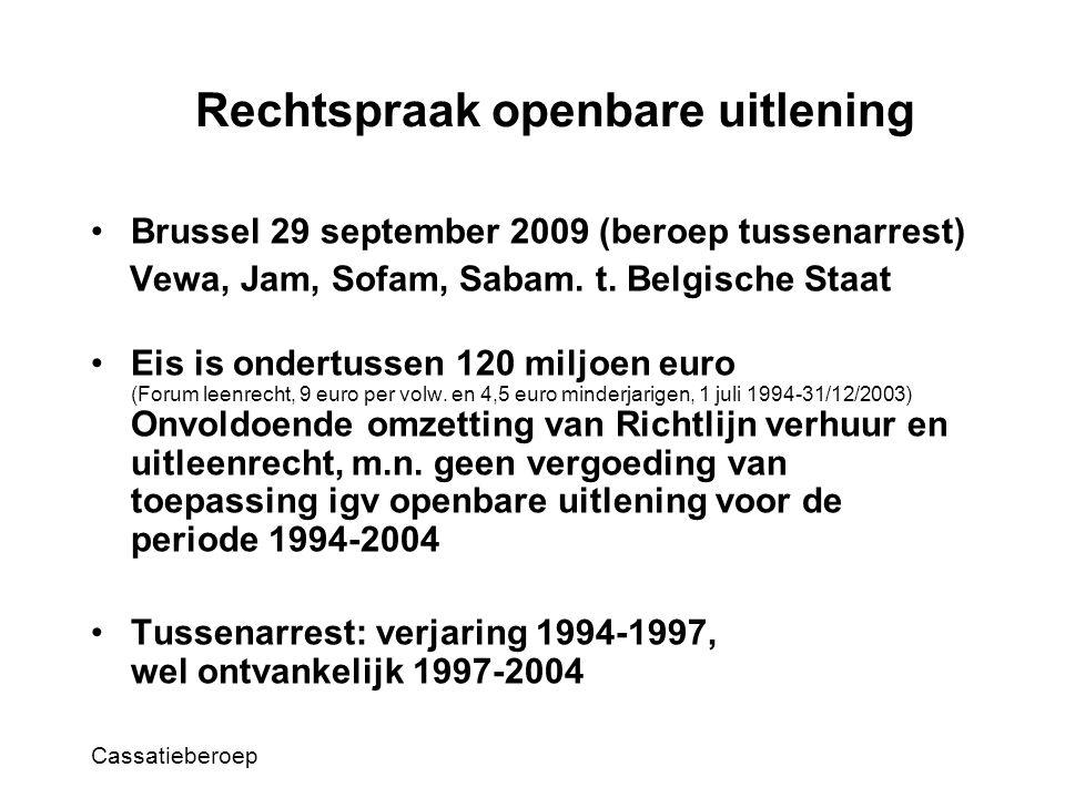 Rechtspraak openbare uitlening Brussel 29 september 2009 (beroep tussenarrest) Vewa, Jam, Sofam, Sabam.