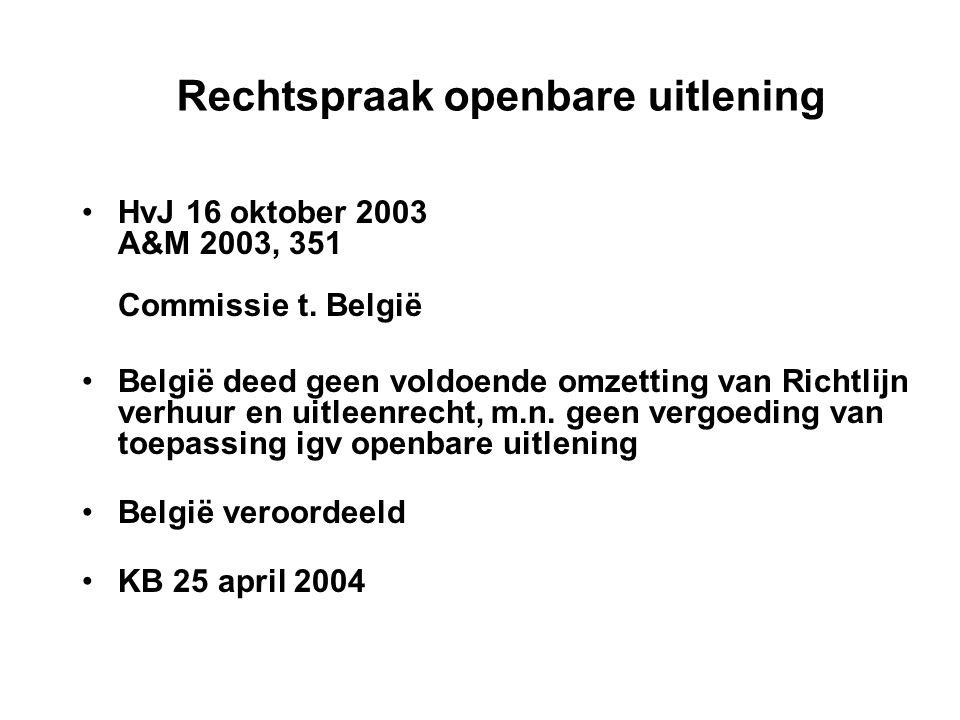 Rechtspraak openbare uitlening HvJ 16 oktober 2003 A&M 2003, 351 Commissie t.