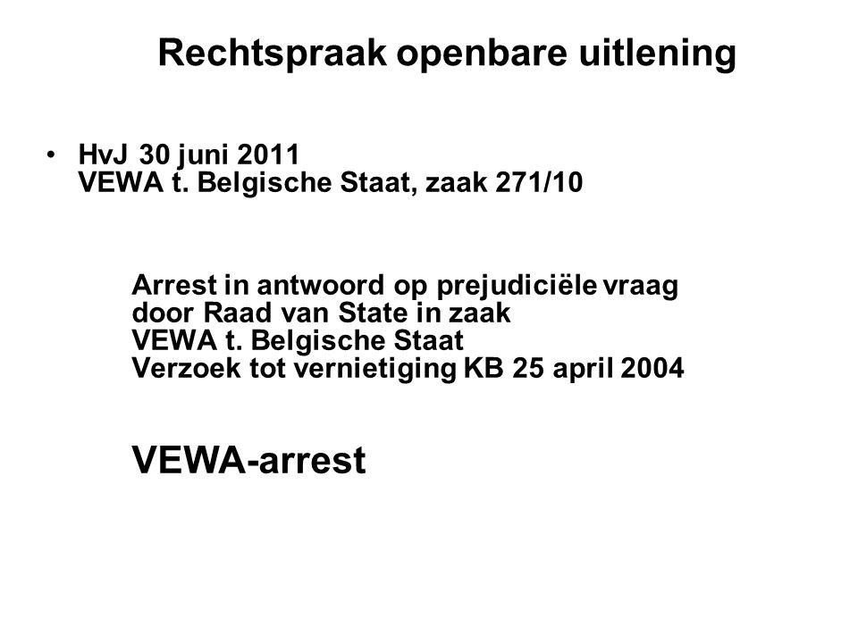 Rechtspraak openbare uitlening HvJ 30 juni 2011 VEWA t.