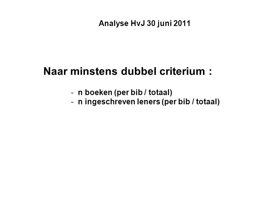 Analyse HvJ 30 juni 2011 Naar minstens dubbel criterium : -n boeken (per bib / totaal) -n ingeschreven leners (per bib / totaal)
