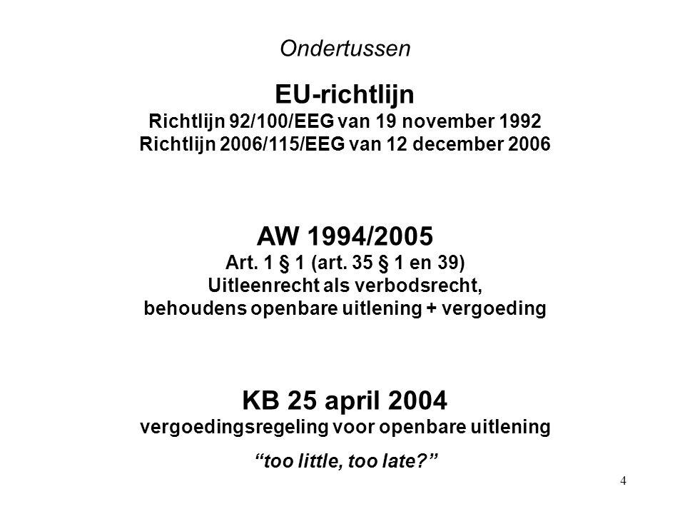 4 Ondertussen EU-richtlijn Richtlijn 92/100/EEG van 19 november 1992 Richtlijn 2006/115/EEG van 12 december 2006 AW 1994/2005 Art.