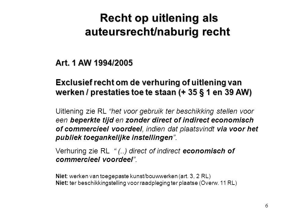 6 Recht op uitlening als auteursrecht/naburig recht Recht op uitlening als auteursrecht/naburig recht Art.