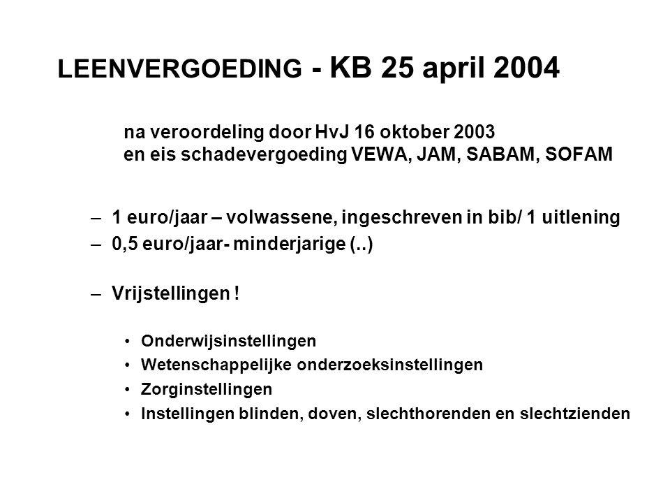 LEENVERGOEDING - KB 25 april 2004 na veroordeling door HvJ 16 oktober 2003 en eis schadevergoeding VEWA, JAM, SABAM, SOFAM –1 euro/jaar – volwassene, ingeschreven in bib/ 1 uitlening –0,5 euro/jaar- minderjarige (..) –Vrijstellingen .