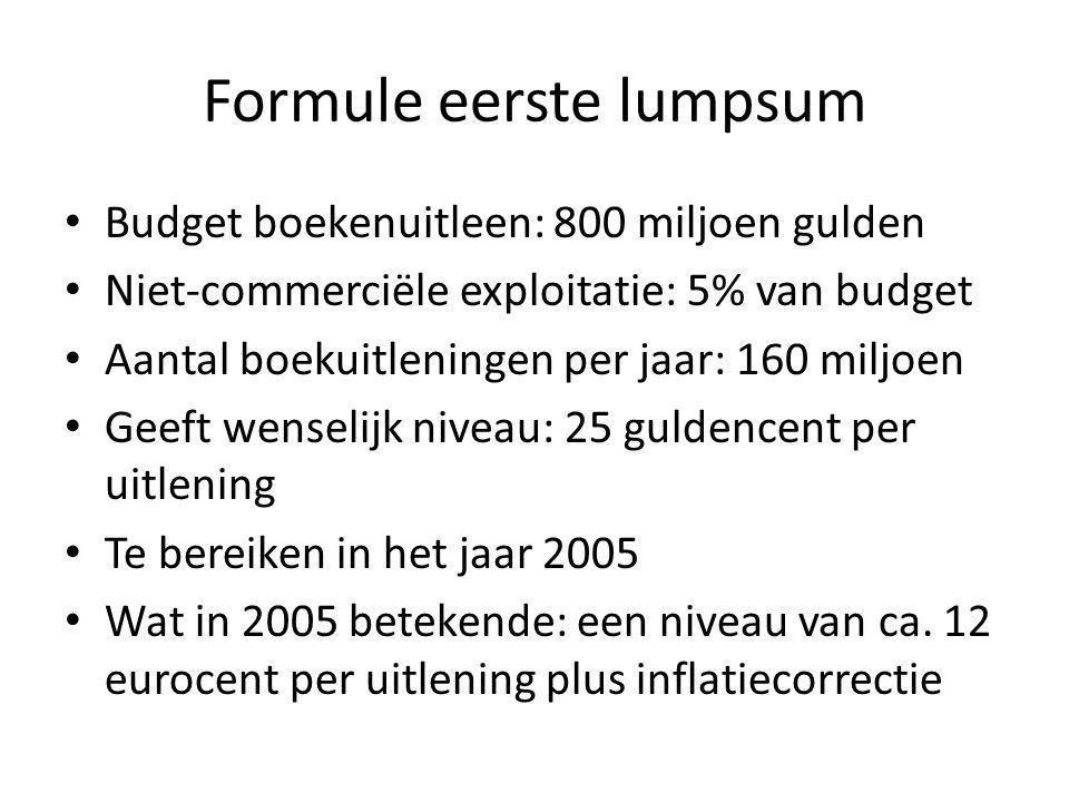 Formule eerste lumpsum Budget boekenuitleen: 800 miljoen gulden Niet-commerciële exploitatie: 5% van budget Aantal boekuitleningen per jaar: 160 miljoen Geeft wenselijk niveau: 25 guldencent per uitlening Te bereiken in het jaar 2005 Wat in 2005 betekende: een niveau van ca.