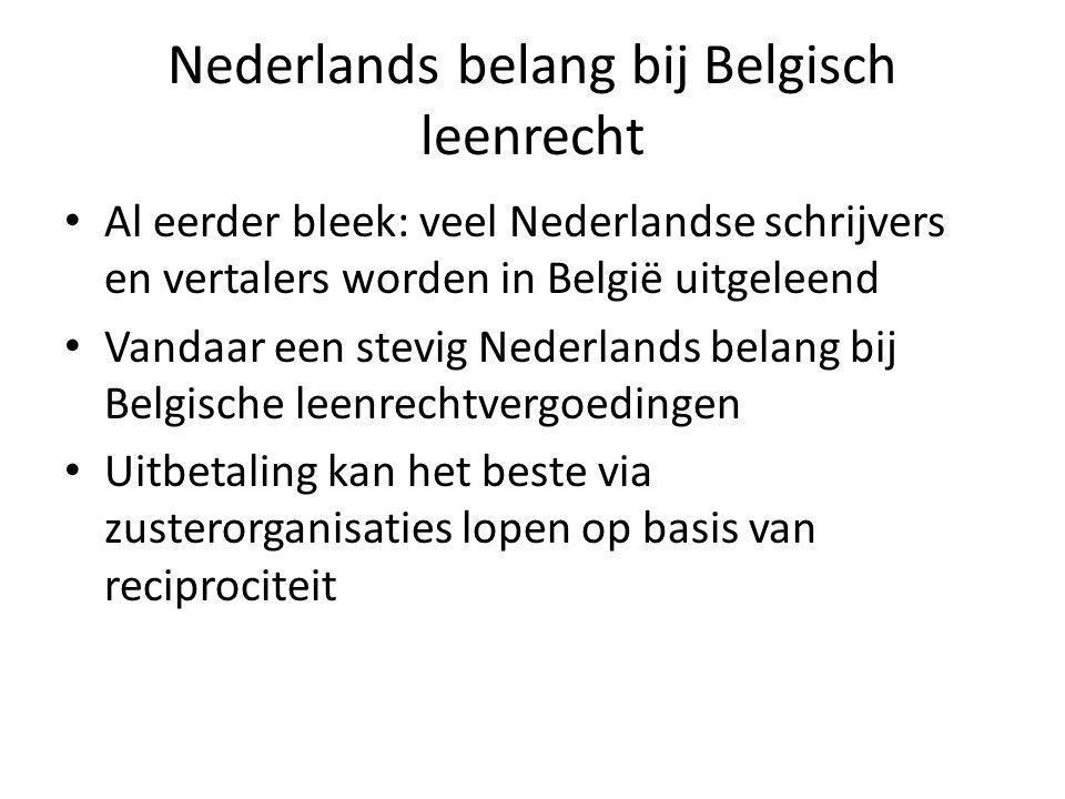 Nederlands belang bij Belgisch leenrecht Al eerder bleek: veel Nederlandse schrijvers en vertalers worden in België uitgeleend Vandaar een stevig Nederlands belang bij Belgische leenrechtvergoedingen Uitbetaling kan het beste via zusterorganisaties lopen op basis van reciprociteit