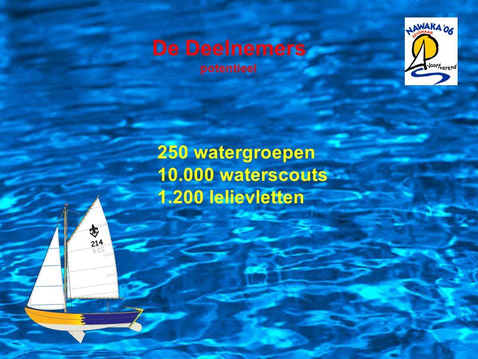 De Deelnemers Dolfijnen 6 - 10 jaar Waterscouts (Zeeverkenners)11 - 14 jaar Wilde Vaart (Matrozen) 15 - 17 jaar Loodsen 18 - 23 jaar