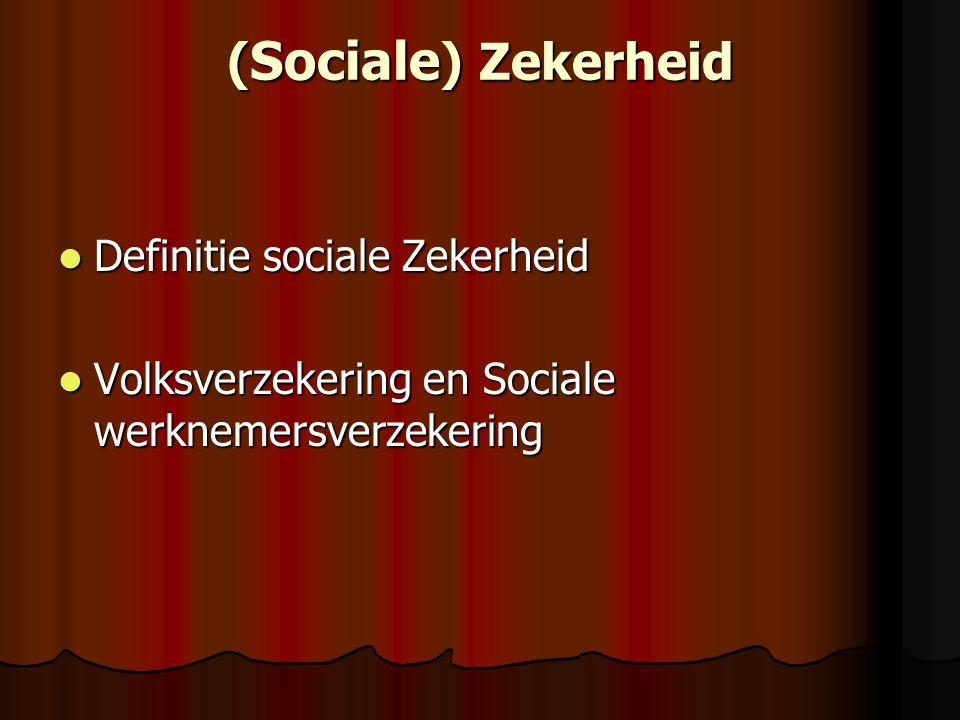 ( Sociale ) Zekerheid Definitie sociale Zekerheid Definitie sociale Zekerheid Volksverzekering en Sociale werknemersverzekering Volksverzekering en Sociale werknemersverzekering