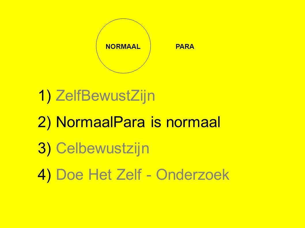 NORMAALPARA 1) ZelfBewustZijn 2) NormaalPara is normaal 3) Celbewustzijn 4) Doe Het Zelf - Onderzoek