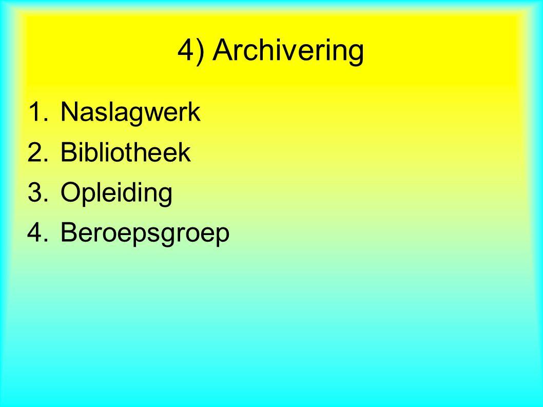 1.Naslagwerk 2.Bibliotheek 3.Opleiding 4.Beroepsgroep 4) Archivering