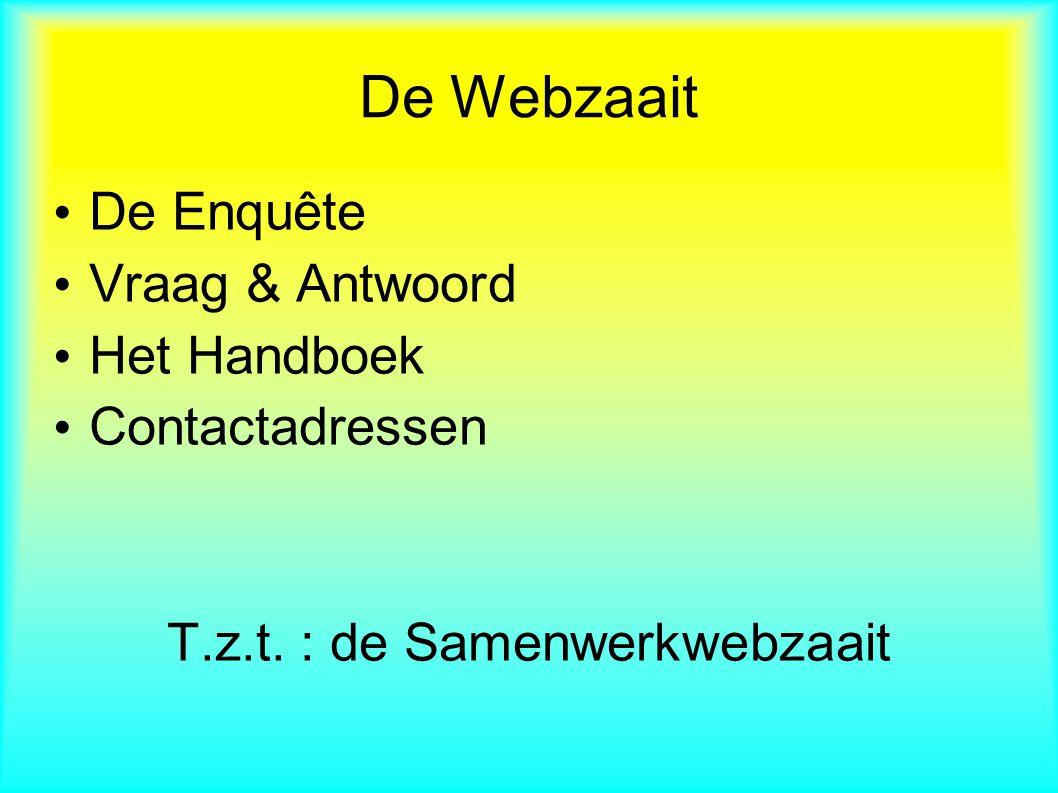 De Enquête Vraag & Antwoord Het Handboek Contactadressen T.z.t. : de Samenwerkwebzaait De Webzaait