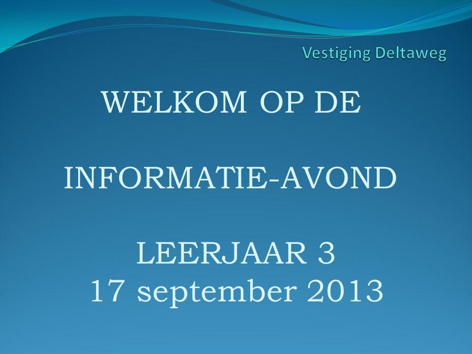WELKOM OP DE INFORMATIE-AVOND LEERJAAR 3 17 september 2013