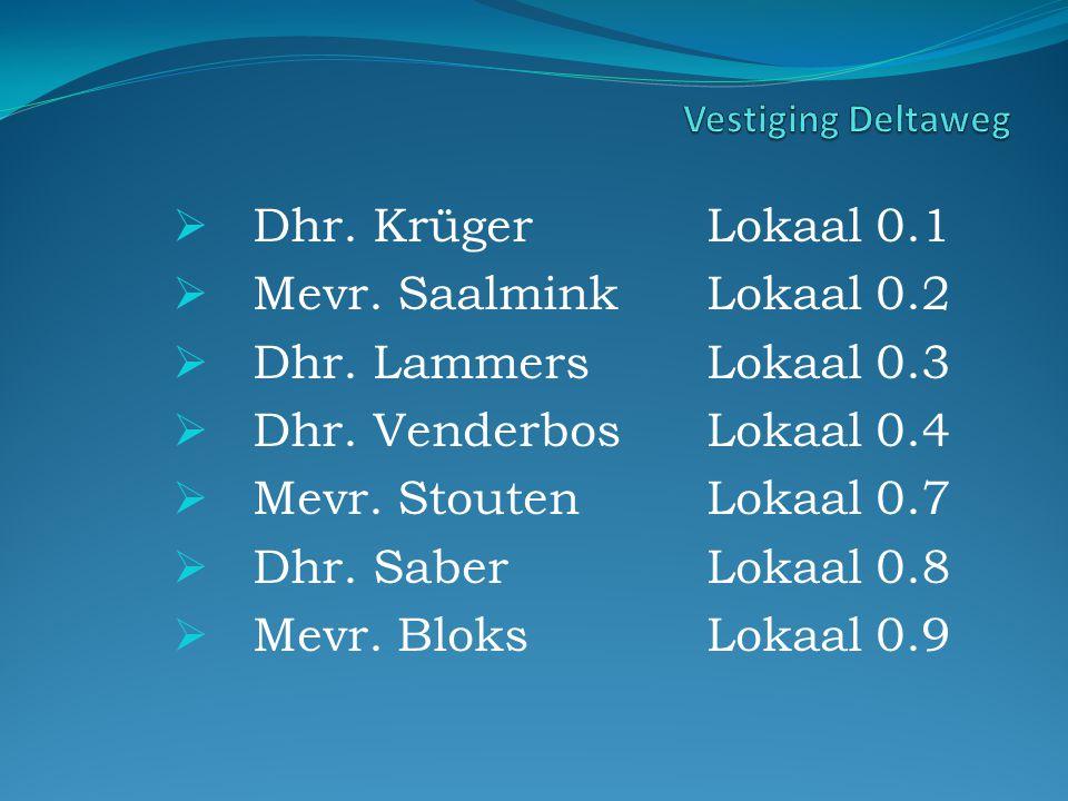  Dhr. KrügerLokaal 0.1  Mevr. SaalminkLokaal 0.2  Dhr.