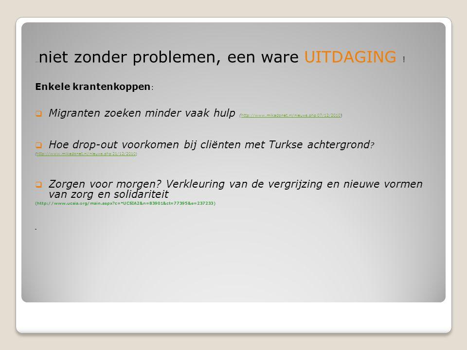 … niet zonder problemen, een ware UITDAGING ! Enkele krantenkoppen :  Migranten zoeken minder vaak hulp (http://www.mikadonet.nl/nieuws.php 07/12/201