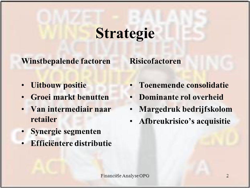 Financiële Analyse OPG2 Strategie Winstbepalende factoren Uitbouw positie Groei markt benutten Van intermediair naar retailer Synergie segmenten Efficiëntere distributie Risicofactoren Toenemende consolidatie Dominante rol overheid Margedruk bedrijfskolom Afbreukrisico's acquisitie