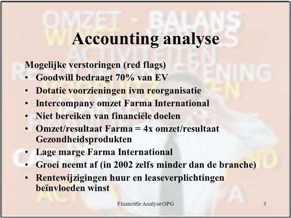 Financiële Analyse OPG3 Accounting analyse Mogelijke verstoringen (red flags) Goodwill bedraagt 70% van EV Dotatie voorzieningen ivm reorganisatie Int