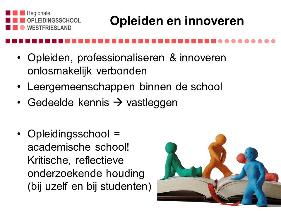 Opleiden en innoveren Opleiden, professionaliseren & innoveren onlosmakelijk verbonden Leergemeenschappen binnen de school Gedeelde kennis  vastleggen Opleidingsschool = academische school.