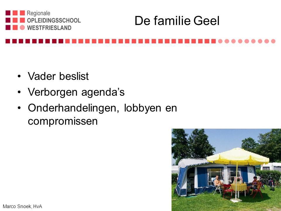 De familie Geel Vader beslist Verborgen agenda's Onderhandelingen, lobbyen en compromissen Marco Snoek, HvA